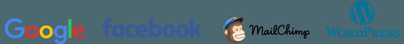 Google, Facebook, Mailchimp, Wordpress